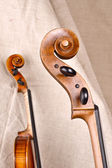 Isolated violin and cello on beige background — Stock Photo