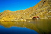Ett brunt trähus på glaciären sjö med mycket tydliga fjällvatten, balea lac, rumänien — Stockfoto