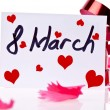 March 8 Card and red ribbon — Stock Photo #23340638