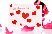 Happy valentine's. red ribbon and pink card — 图库照片