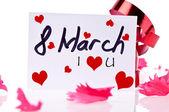 8 maart kaart anf rood lint — Stockfoto