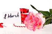 Pink rose and ribbon - march 8 — Stock Photo