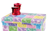 Colorful gift box whit ribbon on - preparing for packing — Foto Stock