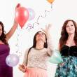 Birthday party celebration - three woman with ballons having fun — Stock Photo