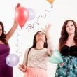 Birthday party celebration - three woman with ballons having fun — Stock Photo