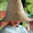 Little boy with straw hat — Stock Photo