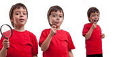 Little boy looking through magnifiers - a collage of laughter, m — Stock Photo