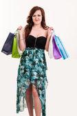 Compra mujer sosteniendo bolsas — Foto de Stock