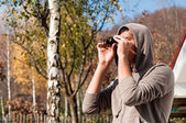 Young man with binoculars watching the nature, Man with binocula — ストック写真