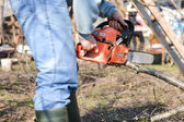 Lumberjack working with chainsaw, cutting wood. Selective focus — Stock Photo