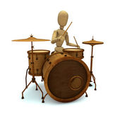 Toy plays drum — 图库照片