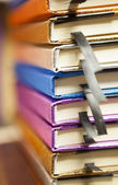 Colorful stack of notebooks close up — Stock Photo