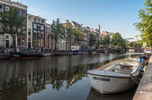 Anchored boats in Amsterdam, Netherlands — Stock Photo