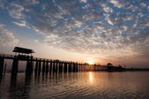 Sunset at the U Bein Bridge, Myanmar — Stock Photo