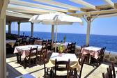 Havsutsikt från stranden café restaurang — Stockfoto