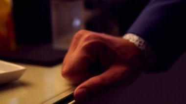 Close up of hand from businessman — Stock Video