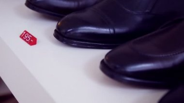 Selection of male fashion shoes for business — Stock Video