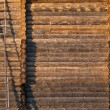 Building a house of logs: the wall and stairs — Stock Photo