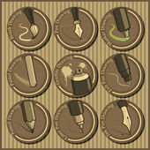 Vintage icon set of different drawing tools — Stock Vector