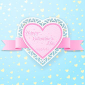 Pink paper heart with ribbon and lace on blue background with yellow little hearts — Stock Vector