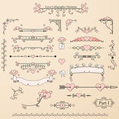 Set of vintage calligraphic elements with hearts,birds and ornaments — Stock Vector