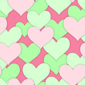 Seamless of green and pink hearts — Stock Vector