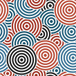 Seamless with dark blue,black and red concentric circles on the white background — Stockvektor