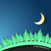 Modern Background With Spruce And Moon. — 图库矢量图片