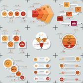 Ensemble de 9 infographie plat minimes — Vecteur
