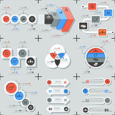 Set Of 9 Flat Minimal Infographics — Stock Vector