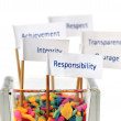 "Label of ""Responsibility"" with the group of business value messa — Stock Photo"