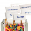"""Label of """"Courage"""" with the group of business value message — Stock Photo"""