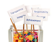 """Label of """"Achievement"""" pin into the glass of colour stone — Stock Photo"""