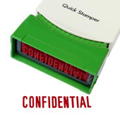 Confidential Stamper isolated over white background — Foto de Stock