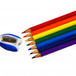 Rainbow of wooden pencils isolated on white — Stock Photo