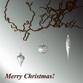 Merry Christmas branch card vector — Stock Vector