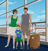 Family at the airport — Stock Vector