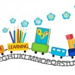 Active learning for preschool kids colorful train — Stock Vector
