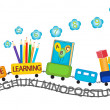 Stock Vector: Active learning for preschool kids colorful train