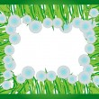 Frame of fluffy dandelion flowers for a photo — Stockvectorbeeld