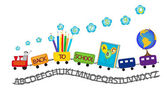 Back to school colorful train — Stock Vector