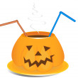 Drink cup in old jack-o-lantern style — Stock Vector