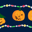 Emotion pumpkins with bright candies — Image vectorielle