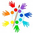Colorful hands with paints and easel — Stockvectorbeeld