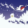 Christmas Eve landscape in a cartoon style — Imagen vectorial