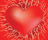 Kalp wirh glam kalpleri arka plan üzerinde parıldıyor — Stok Vektör