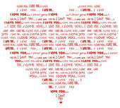 Heart shaped I love you red word cloud — Stock Vector