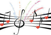 Love song in different languages — Vettoriale Stock