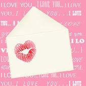 Lips imprint on the envelope on pink background with I love you — Stock Vector