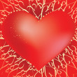 Постер, плакат: Heart wirh glam sparkles on hearts background